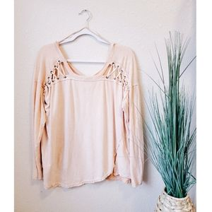 FREE PEOPLE Linen Lace Shoulder Scoop Tee sz L